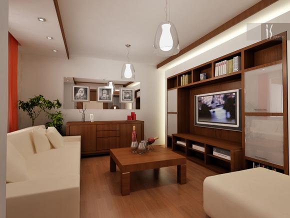 Встроенная мебель для маленькой гостиной - фото
