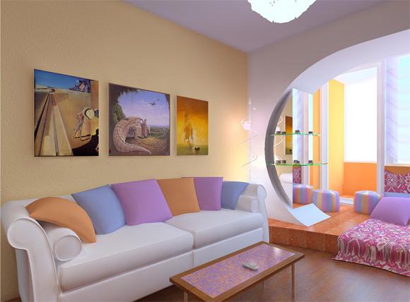 Маленькая гостиная с балконом- фото