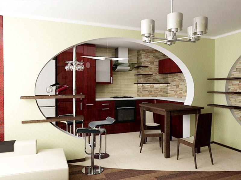 Дизайн кухни для квартир студий