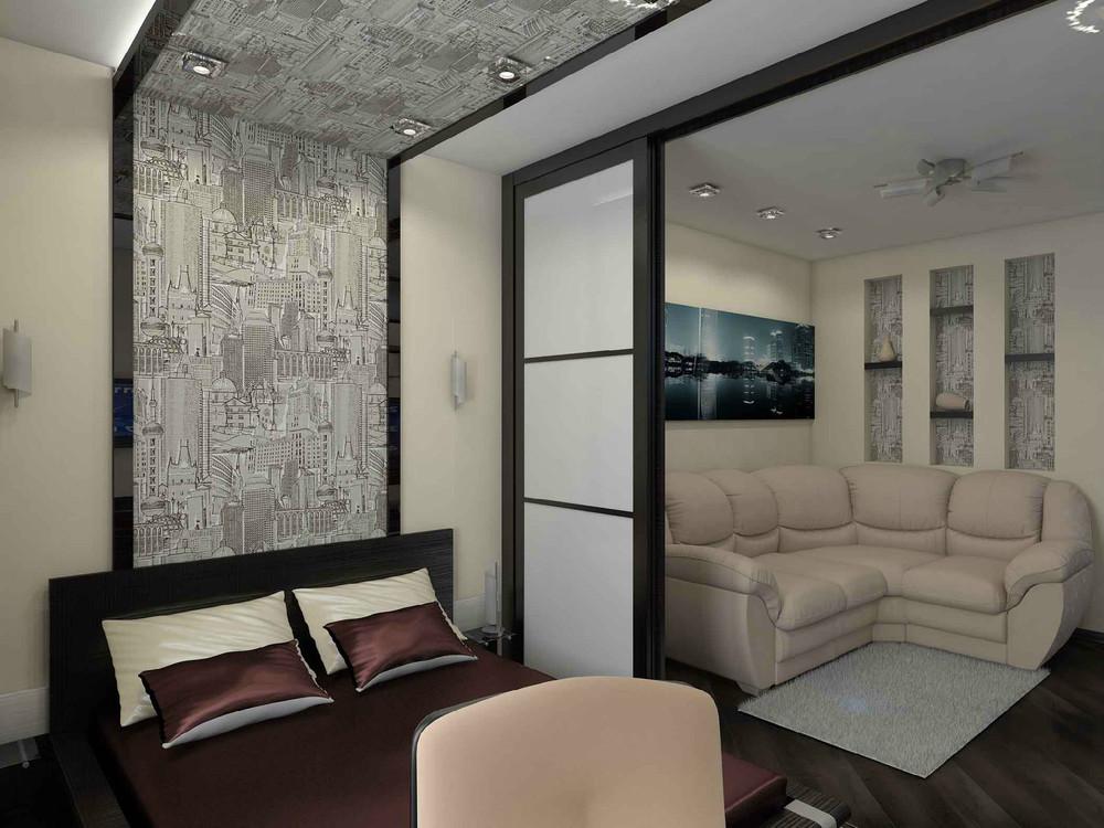 Интерьер гостиной со спальной зоной фото