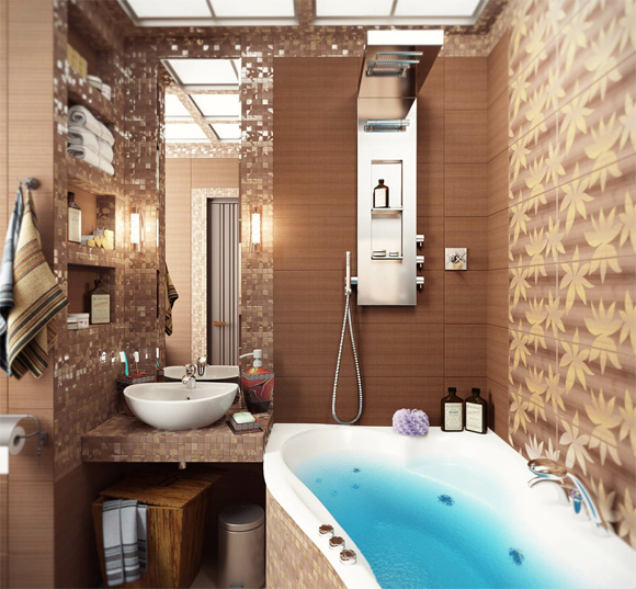 Отделка стен в маленьких ванных комнатах - фото