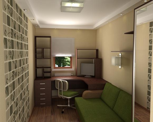 Маленькая узкая гостиная комната