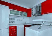 Кухня бело-красная. Фото