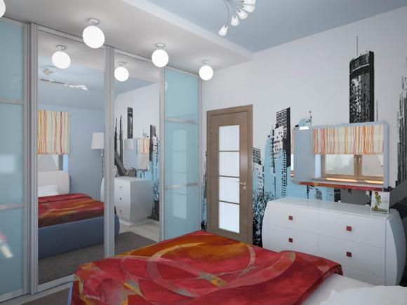 Гардеробная в маленькой спальне с фото